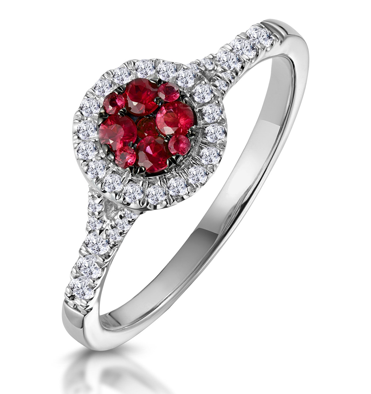 Ruby and Diamond Halo Circle Ring 18K White Gold - Asteria Collection