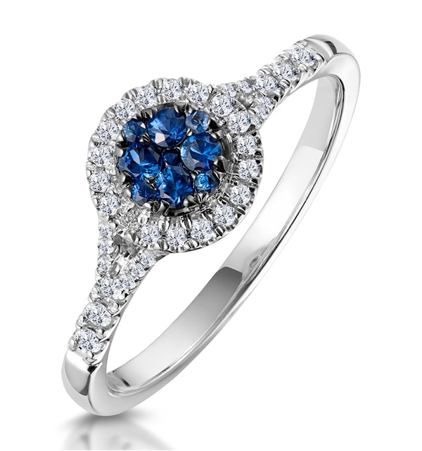 Sapphire and Diamond Halo Circle Ring 18KW Gold - Asteria Collection - image 1