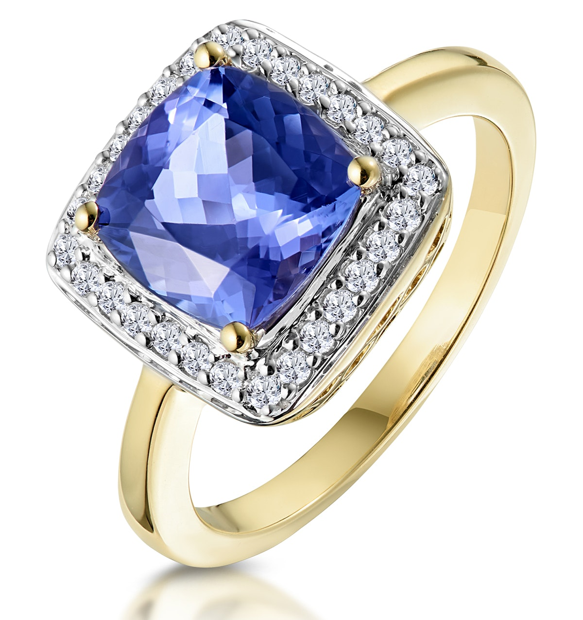 2ct Tanzanite and Diamond Statement Ring 18K Gold - Asteria Collection