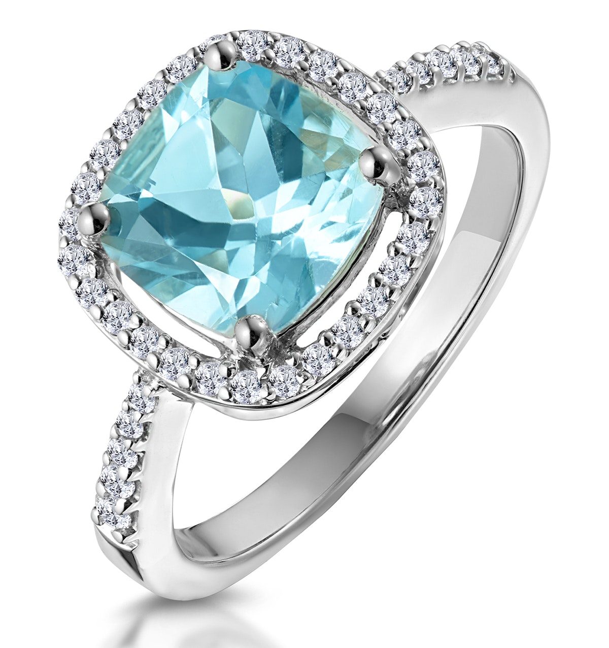 2ct Blue Topaz and Diamond Shoulders Asteria Ring in 18K White Gold