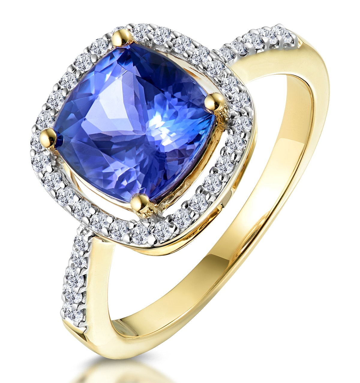 2ct Tanzanite and Diamond Shoulders Asteria Ring in 18K Gold