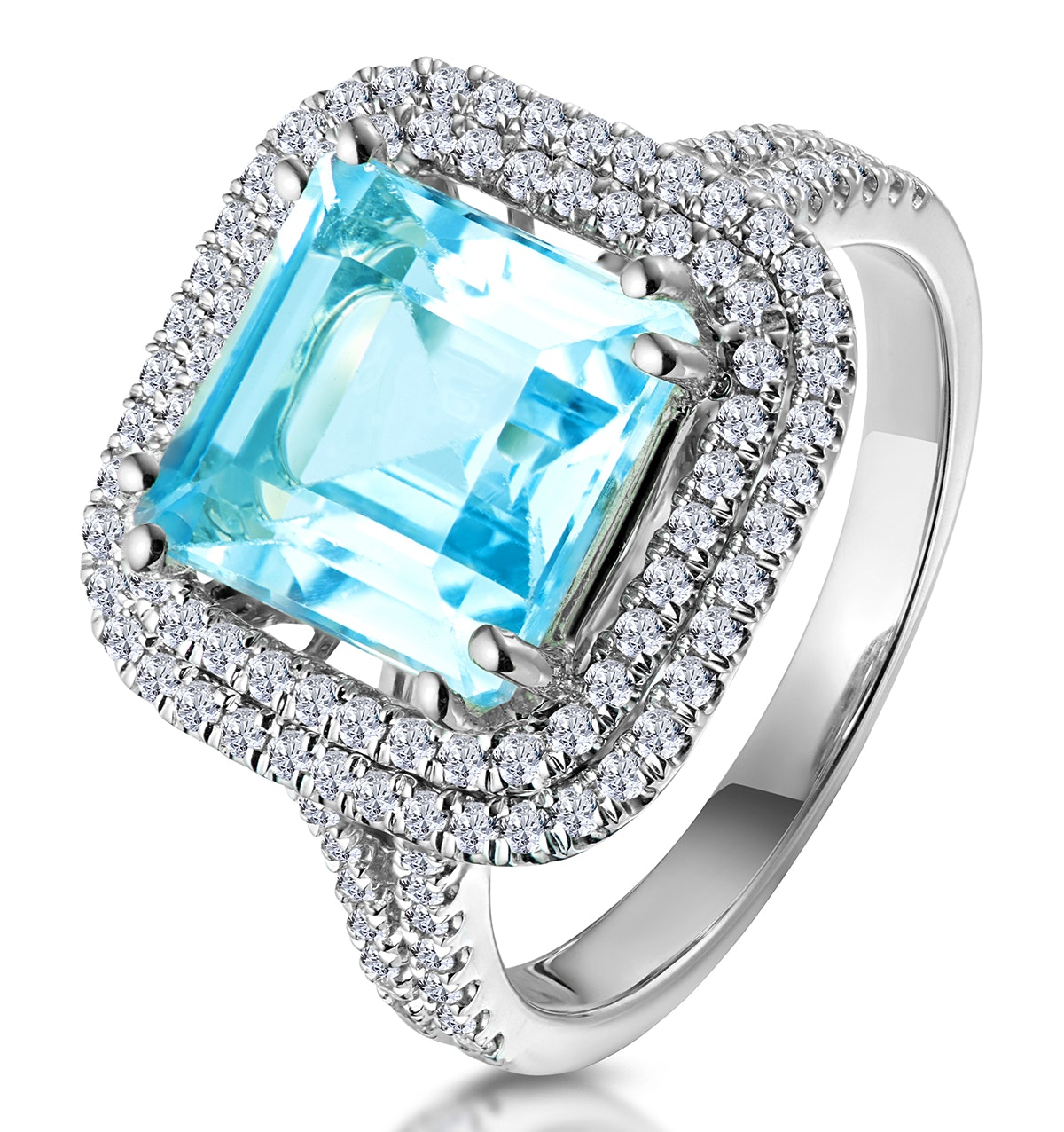 4.7ct Blue Topaz and Diamond Shoulders Asteria Ring in 18K White Gold