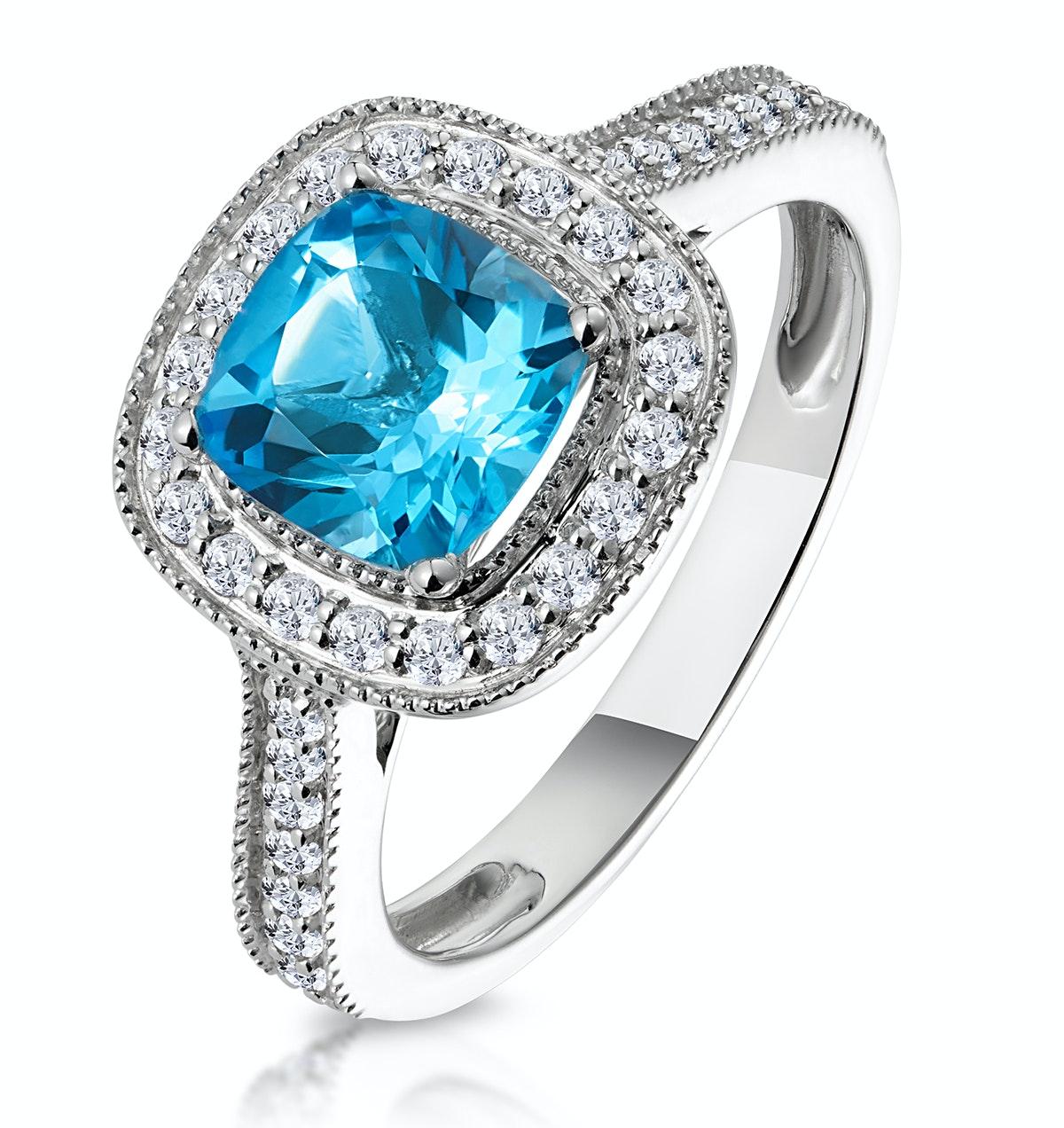 2.50ct Cushion Blue Topaz Diamond Halo Asteria Ring in 18K White Gold