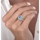 2.50ct Cushion Blue Topaz Diamond Halo Asteria Ring in 18K White Gold - image 3