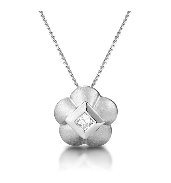 Diamond Flower Slider Necklace in 9K White Gold - image 1