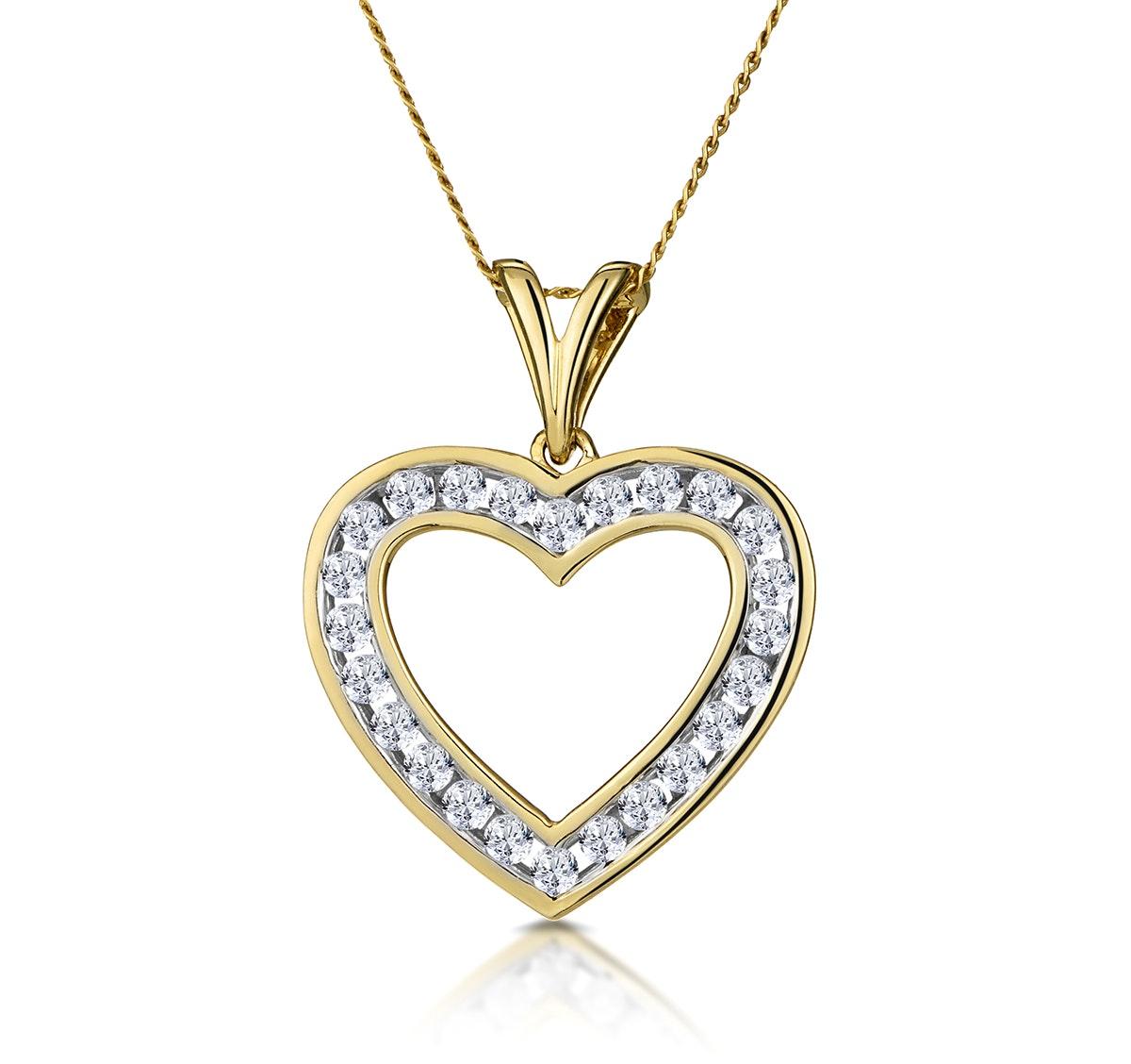 Heart Pendant 0.50ct Diamond 9K Yellow Gold