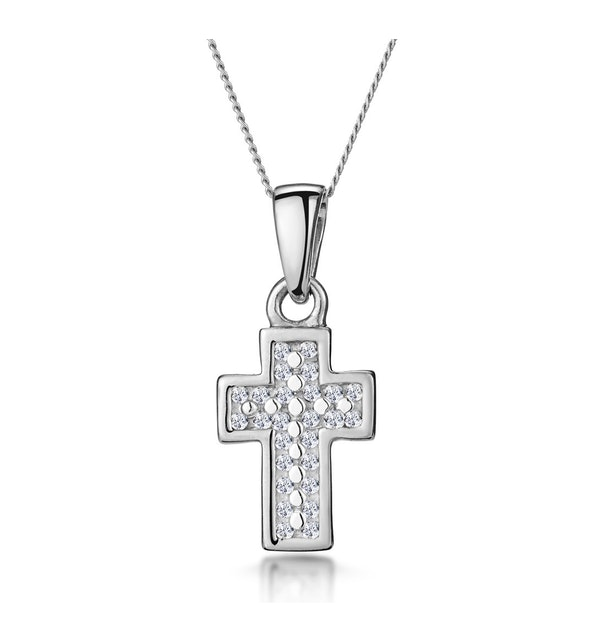 0.15ct Diamond Pave Cluster Cross in 9K White Gold - image 1