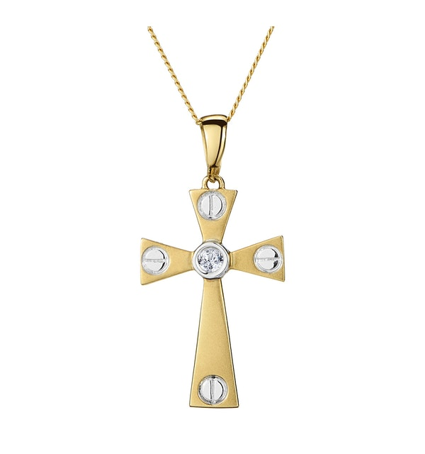 Diamond Centre Cross Necklace in 9K Gold - image 1