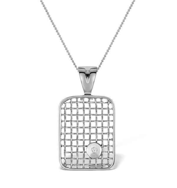 Diamond 0.02ct 9K White Gold Pendant - RTC-G3319Y - image 1