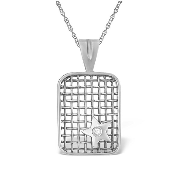 0.02ct Diamond and 9K White Gold Pendant - image 1