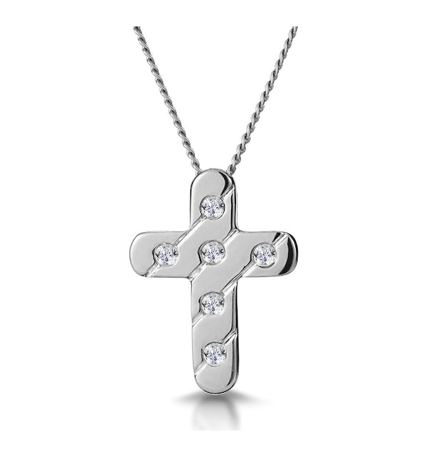 Diamond Inlaid Cross Necklace in Grooved 9K White Gold - image 1