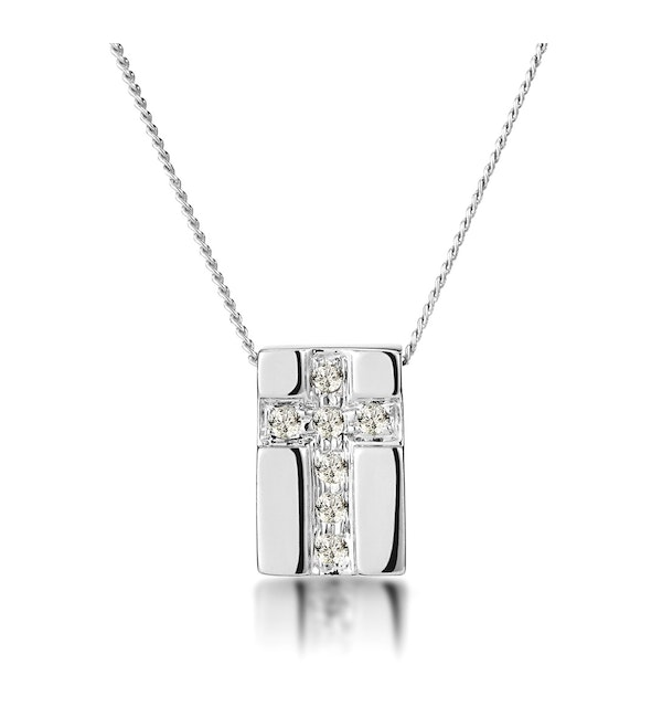 Pave Inlaid Diamond Cross Necklace in 9K White Gold - image 1