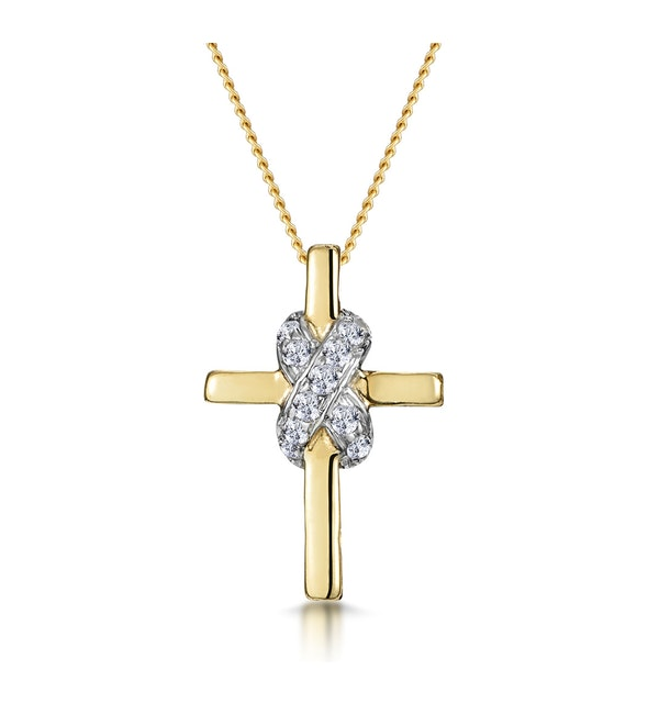 0.13ct Diamond Bonded Design Cross Necklace in 9K Gold - image 1