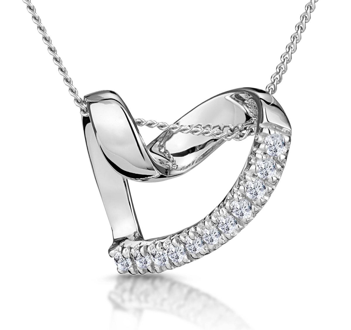Heart Pendant 0.10ct Diamond 9K White Gold