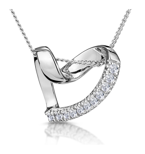 Heart Pendant 0.10ct Diamond 9K White Gold - image 1
