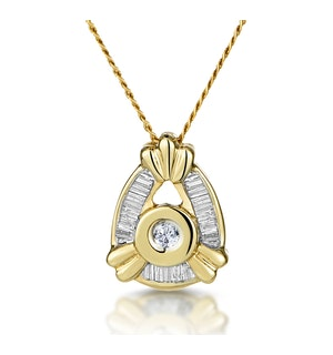 9K GOLD BAGUETTE DIAMOND PENDANT (0.17CT)