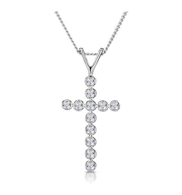 Cross Pendant 0.12CT Diamond 9K White Gold - image 1