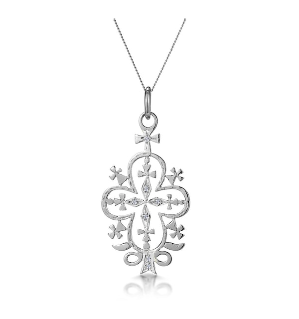 Diamond Ethiopian Curved Edge Cross Necklace in 9K White Gold - image 1