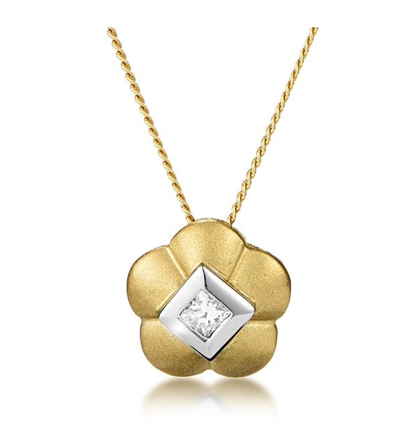 Diamond Centre Flower Slider Necklace in 9K Gold - image 1