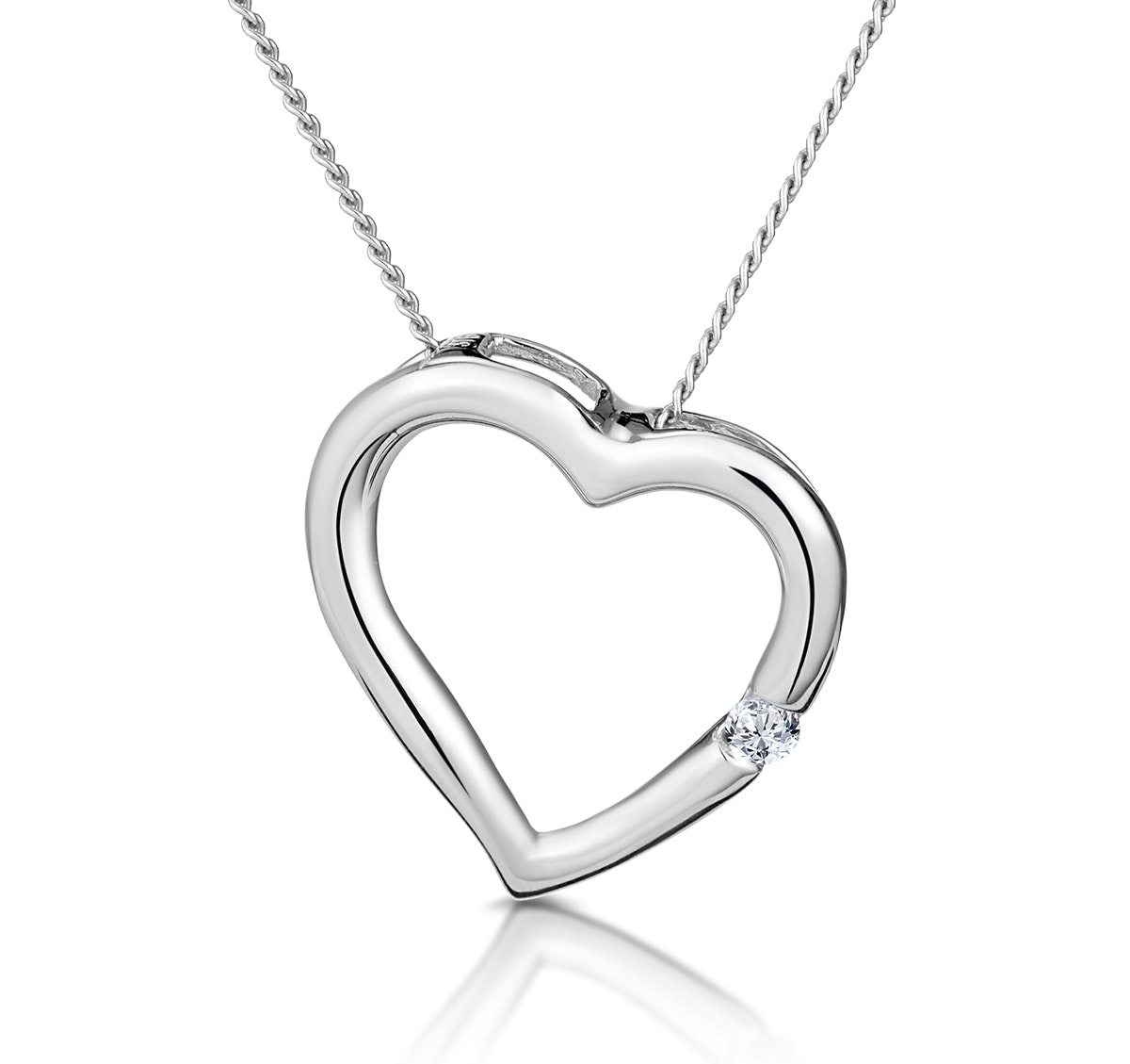 Diamond Heart Pendant 0.03ct 9K White Gold