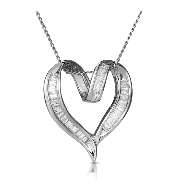 Heart Pendant 0.33ct Diamond 9K White Gold - image 1