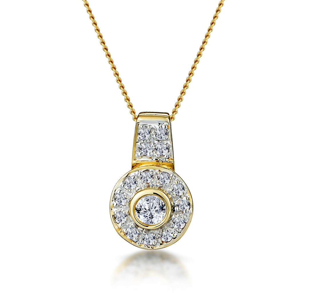 0.22ct Diamond Pave and Centre Inlaid Necklace in 9K Gold