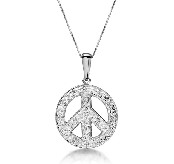 Retro Diamond Pave Peace Sign Necklace in 9K White Gold - image 1