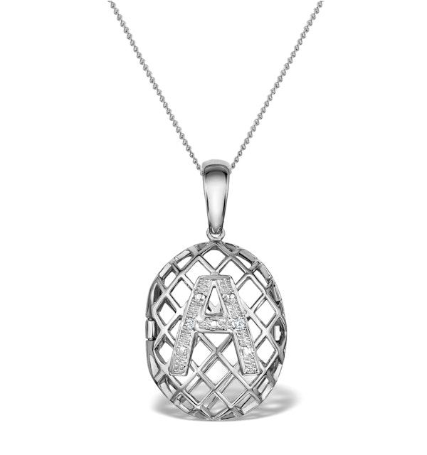 Diamond 0.01ct 9K White Gold Initial Pendant - RTC-G4407Y - image 1