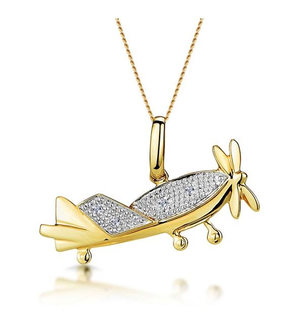 0.02ct Diamond Studded Aeroplane Necklace in 9K Gold - image 1
