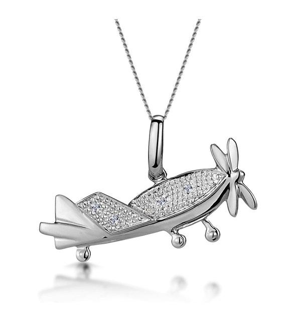 0.02ct Diamond Studded Aeroplane Necklace in 9K White Gold - image 1