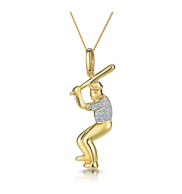 0.02ct Diamond Pave Baseball Player Necklace in 9K Gold - image 1