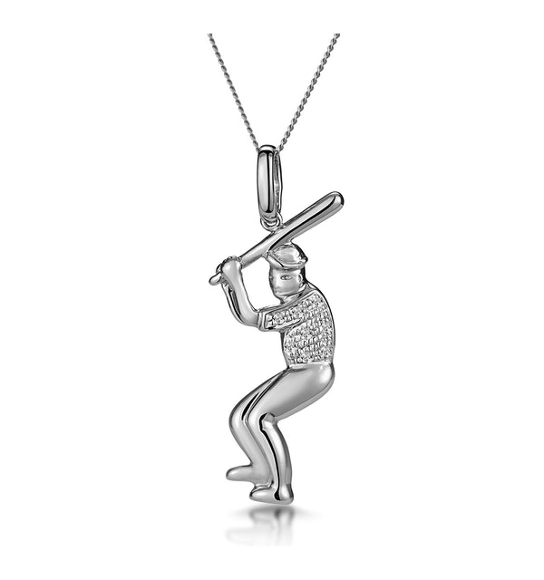 0.02ct Diamond Pave Baseball Player Necklace in 9K White Gold - image 1