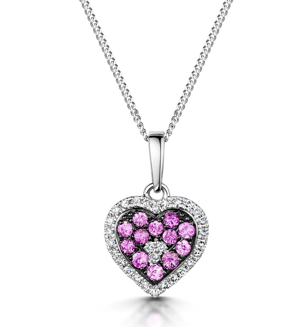 Pink Sapphire Diamond Stellato Heart Pendant in 9K White Gold