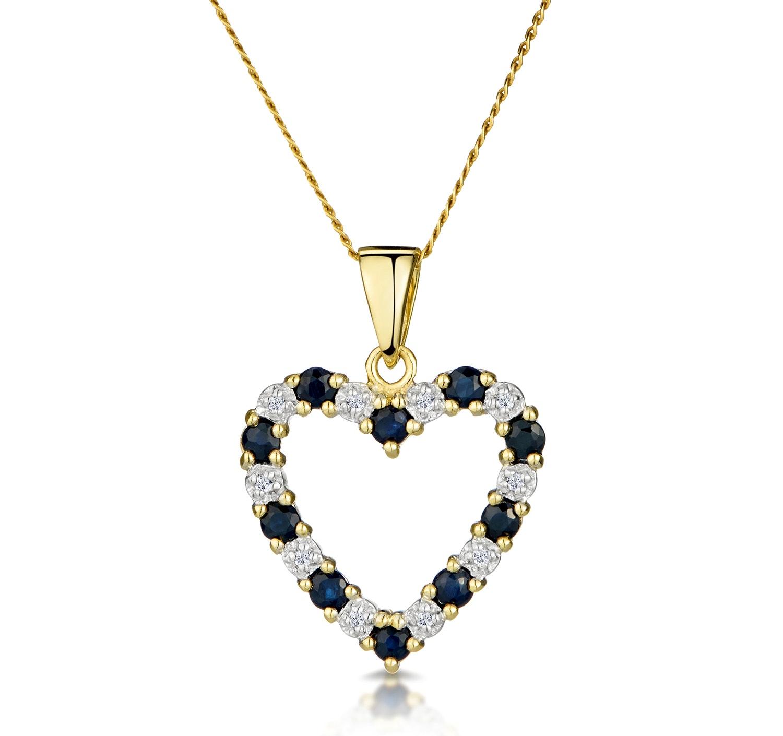 Sapphire And 0.03CT Diamond Pendant 9K Yellow Gold
