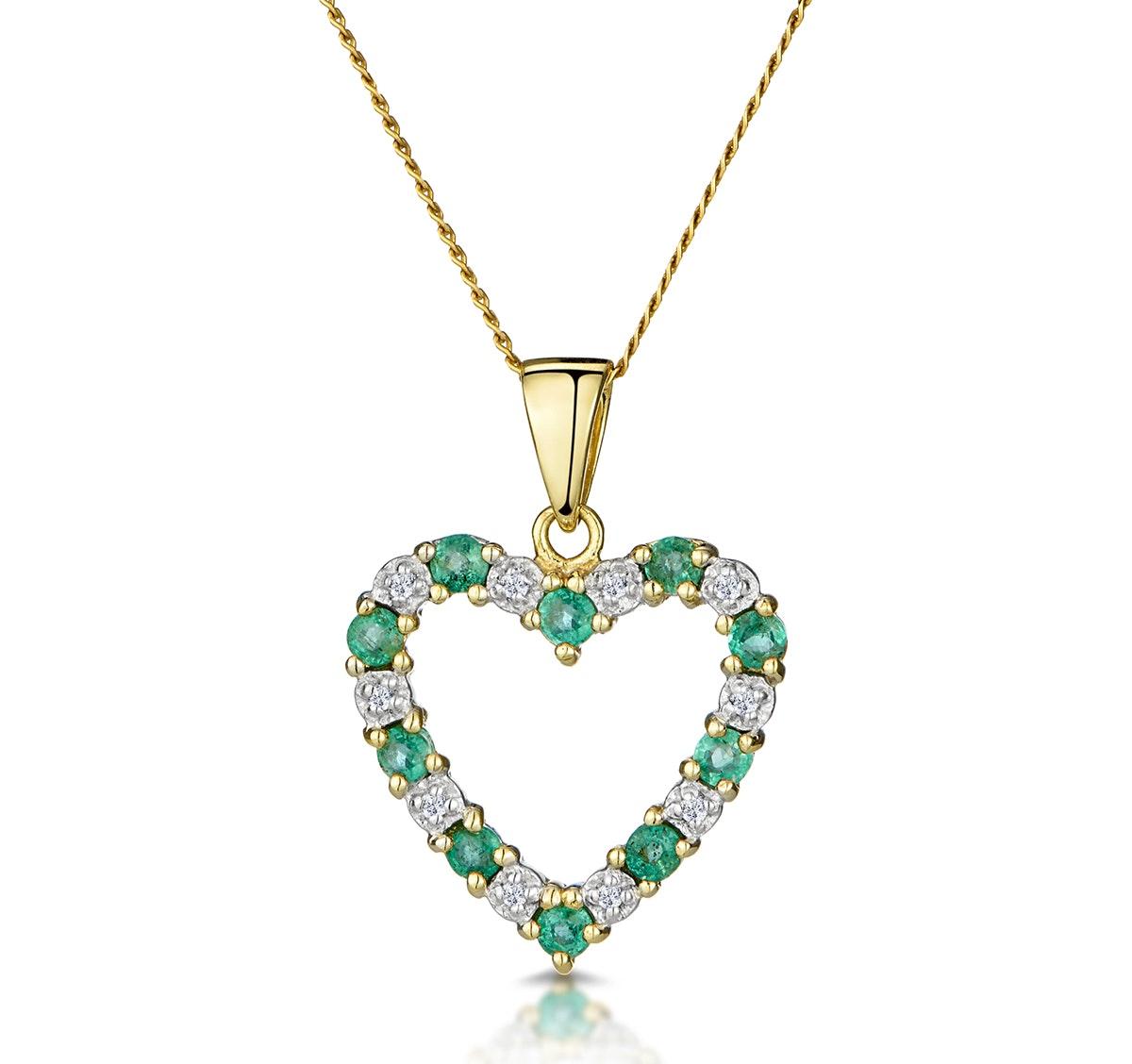 Emerald 0.54CT And Diamond 9K Yellow Gold Pendant