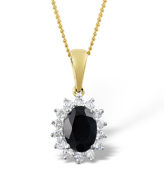 Sapphire 7 x 5mm And Diamond 18K Yellow Gold Pendant