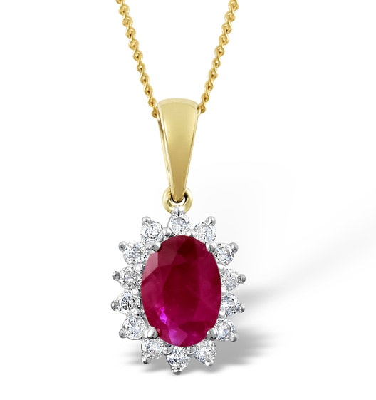 Ruby 7 x 5mm And Diamond 18K Yellow Gold Pendant