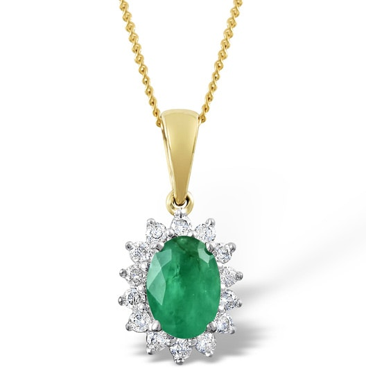 Emerald 0.80CT And Diamond 18K Yellow Gold Pendant