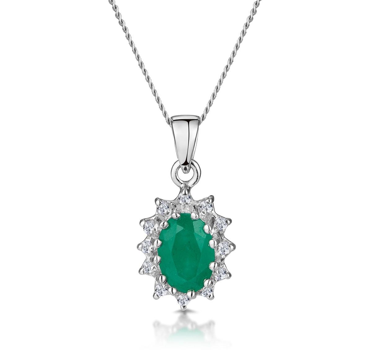 Emerald 0.80CT And Diamond 9K White Gold Pendant