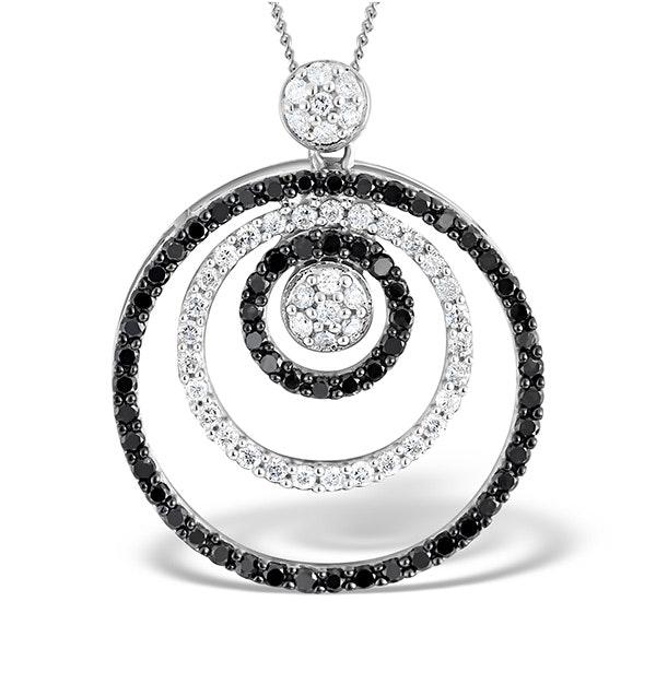 9K White Gold Black Diamond Circle Design Pendant 1.00ct