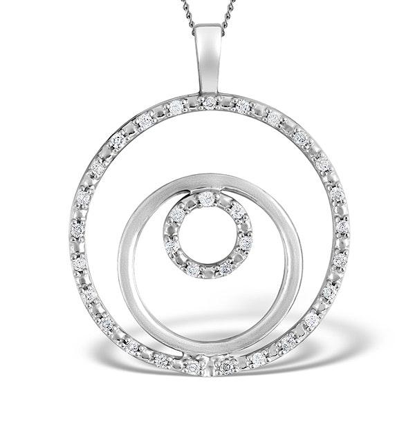 9K White Gold Diamond Circle Design Pendant 0.20ct