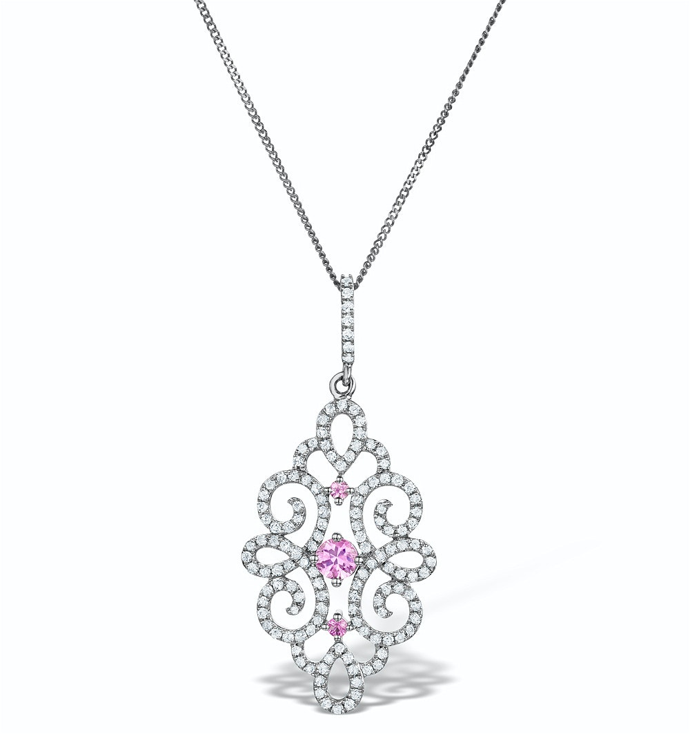 Vivara Collection Diamond and Pink Sapphire 9K Gold Pendant G4068Y
