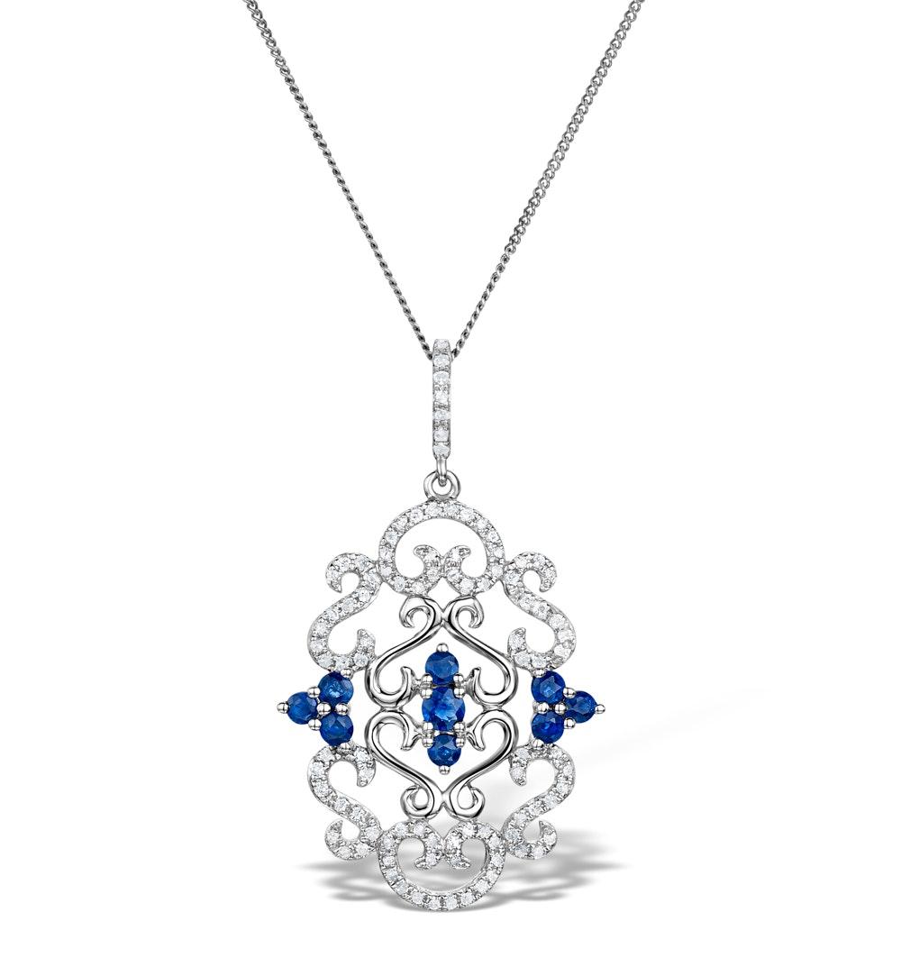 Vivara Collection Diamond and Sapphire 9K White Gold Pendant G4069