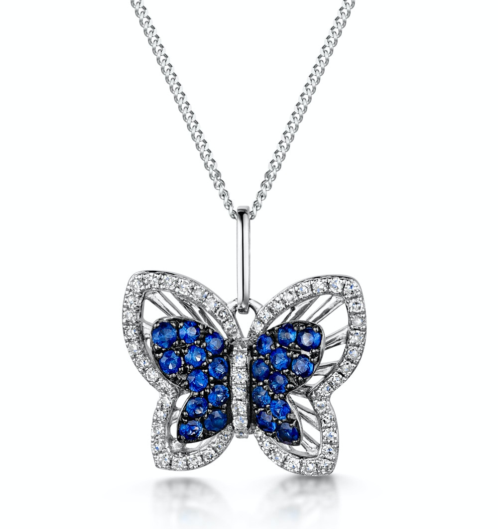 Stellato Sapphire and Diamond Butterfly Pendant in 9K White Gold