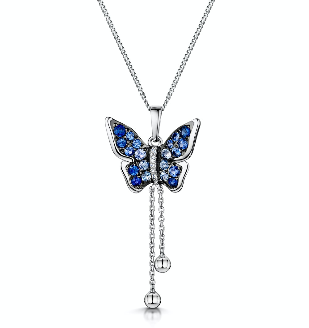 Stellato Collection Sapphire Diamond Butterfly Pendant 9K White Gold
