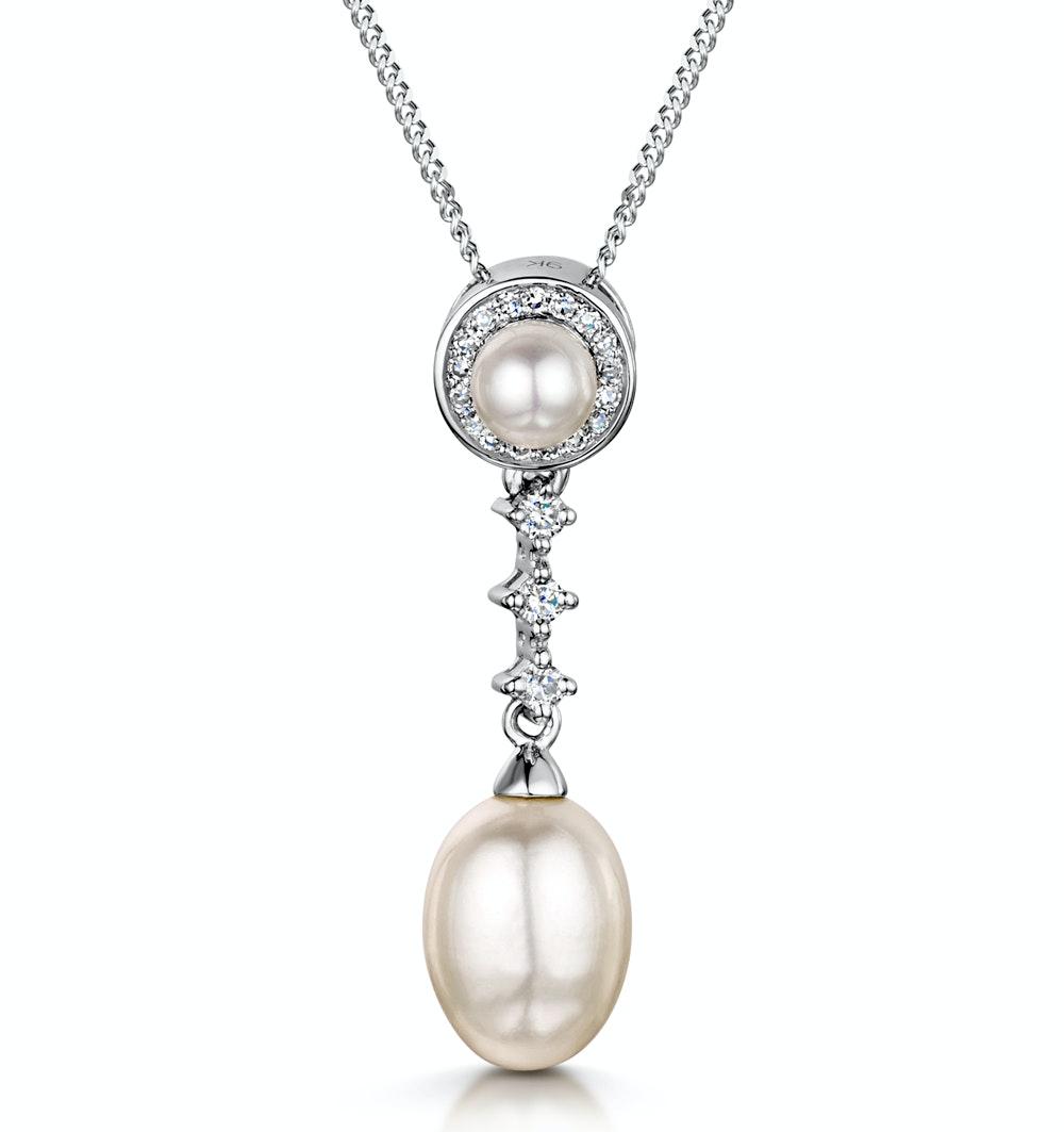 Stellato Collection Pearl and Diamond Pendant 0.08ct in 9K White Gold