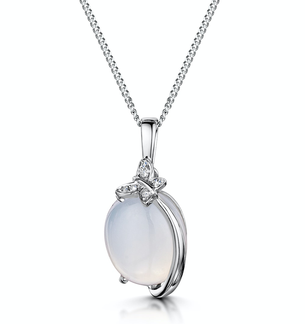 Stellato Collection Quartz and Diamond Pendant in 9K White Gold