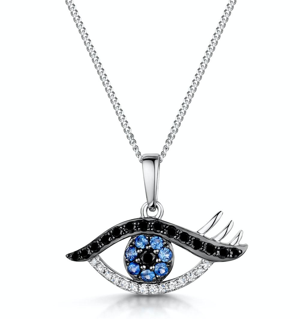 Sapphire and Diamond Evil Eye Hamsa Stellato Pendant in 9K White Gold