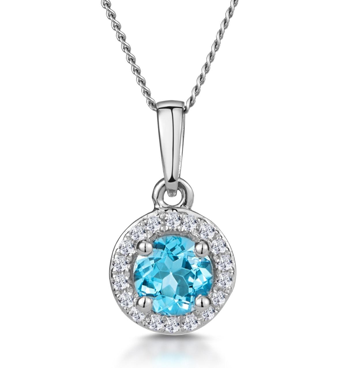 0.37ct Swiss Blue Topaz and Diamond Stellato Necklace in White Gold
