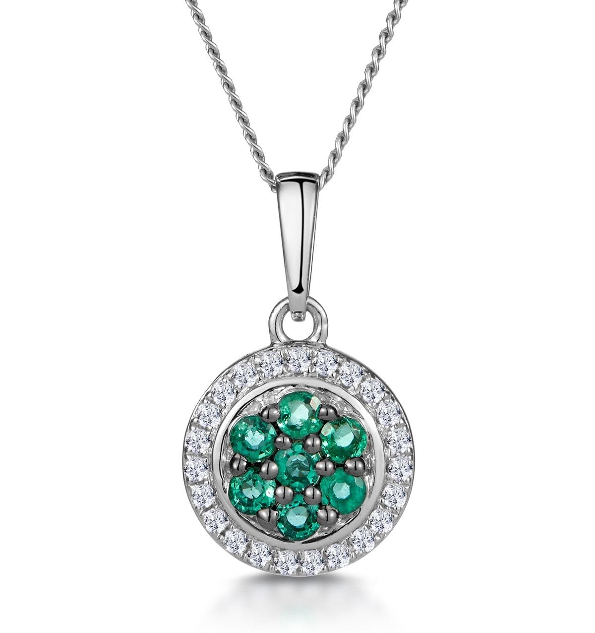 0.16ct Emerald and Diamond Stellato Necklace in 9K White Gold
